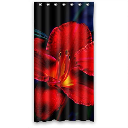 HelloDecor Fire Red Flowers Shower Curtain Polyester Fabric Bathroom Decorative Size 36x72 Inches