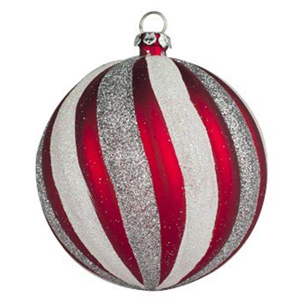 275 In Swirl Ball Ornament Red Silver Pack Of 4 Walmart Com Walmart Com