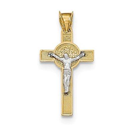 14K Two Tone Gold Saint Benedict Medal INRI Crucifix Cross Charm Pendant 14k 2 Tone Cross Pendant