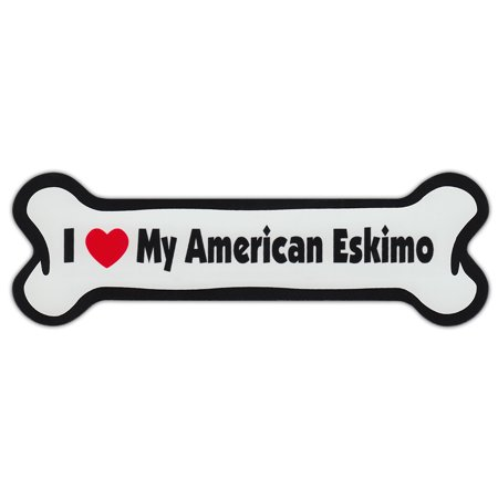 American Eskimo Magnet (Dog Bone Shaped Car Magnets: I Love My American)