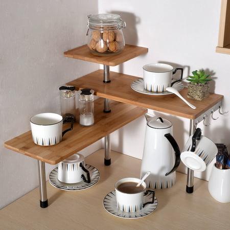 Ollieroo 3 Tier Corner Desktop Shelf Bamboo Rack Unit Stainless Steel  Kitchen Office Desk Organiser Bookshelf Display Shelves