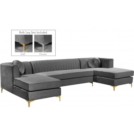 Meridian Furniture Inc Graham Upholstered Sectional Sofa Walmart Com