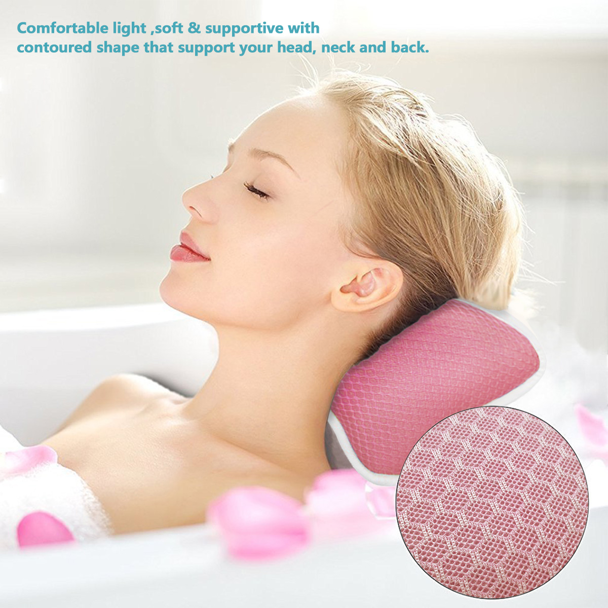 Nonslip Jacuzzi Tub Pillow Massage Pillow with Suction Cups Home ...