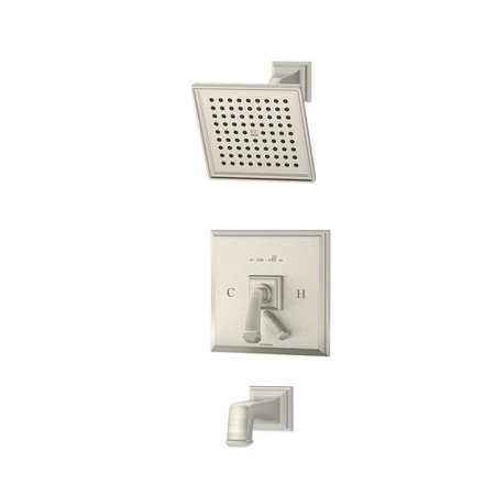 Oxford Single Handle Tub and Shower Faucet with Integral Diverter in Satin (Symmons Oxford Tub)