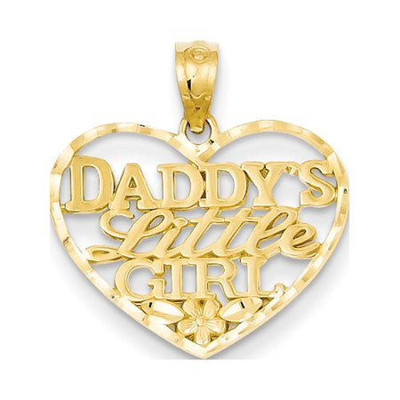 14k Yellow Gold D/C Daddys Little Girl Heart (19x20mm) Pendant / Charm