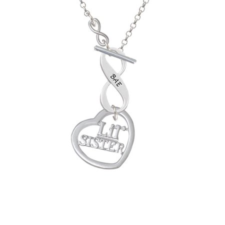 3 4 Lil Sister Cutout Open Heart   To Infinity Bae Toggle Necklace