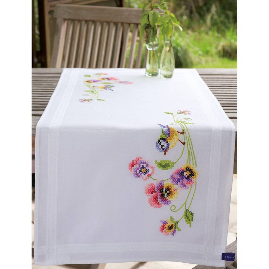"""Vervaco Little Birds And Pansies Table Runner Stamped Embroidery Kit, 16"""" x 40"""""""