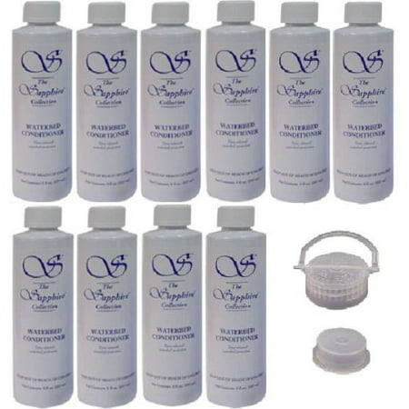 10 Bottles of Blue Magic 8 oz Sapphire Waterbed Conditioner with a Cap & Plug for Hardside & Softside Water Bed Mattresses (Pine Waterbeds)