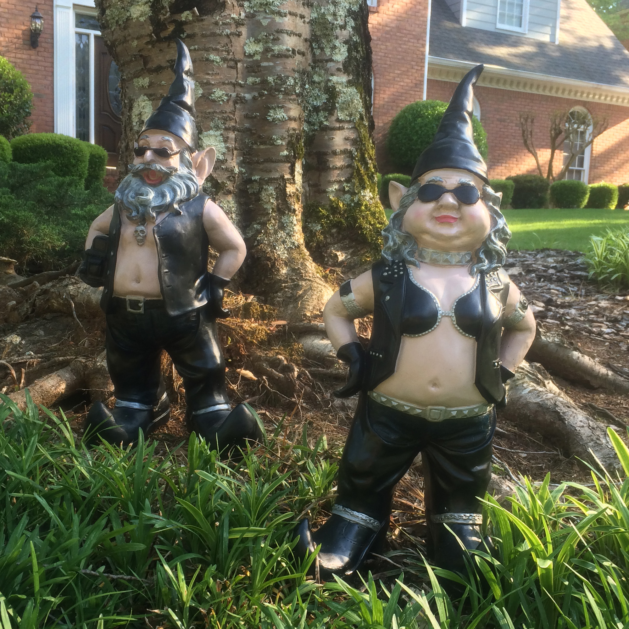 """Homestyles Nowaday Gnomes Biker Gnomes """"Biker & Babe the Gnomes"""" Garden Gnome 2-Piece Set Home and... by"""