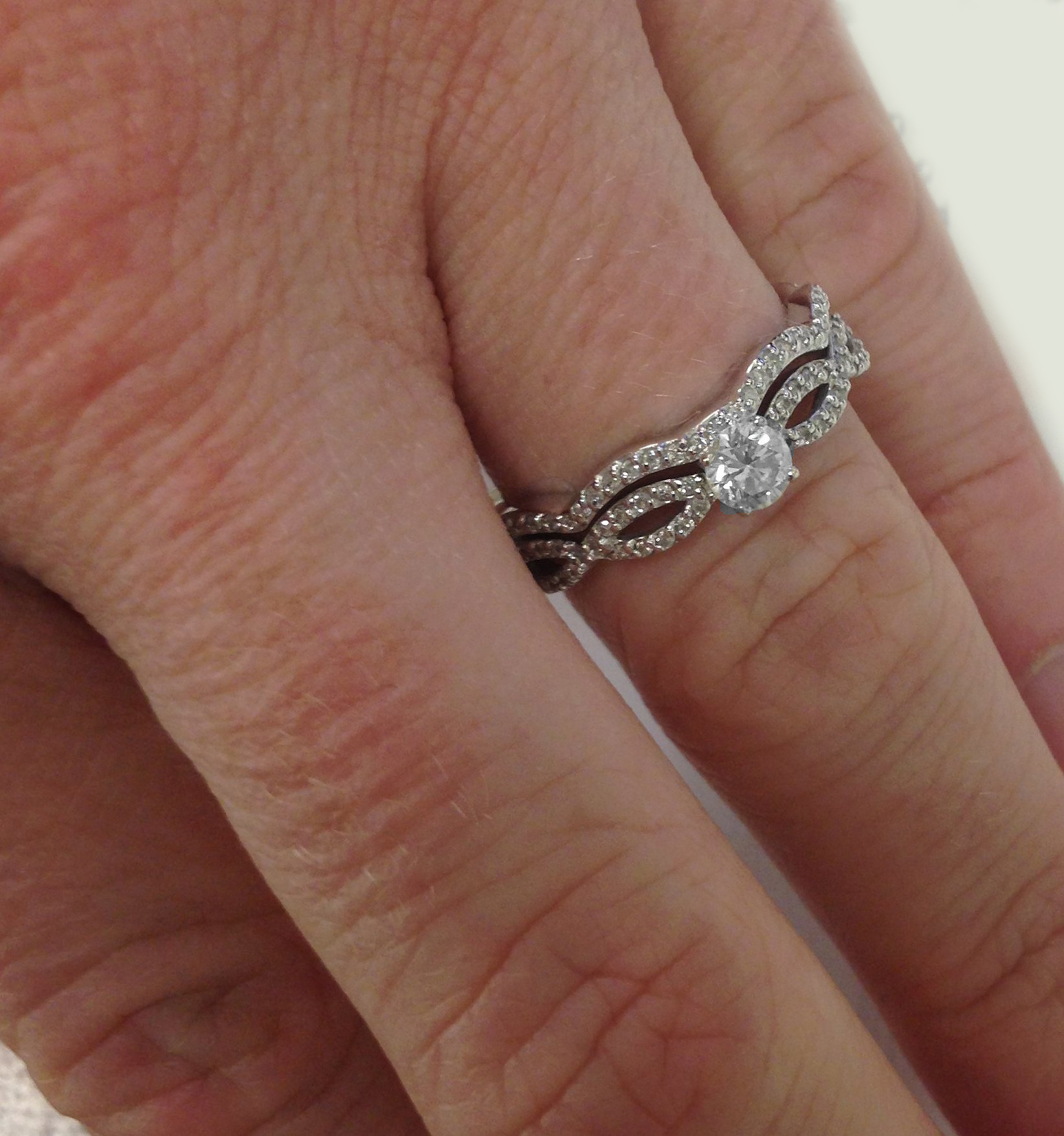 1ct Pave Natural Diamond Engagement Infinity Wedding Ring Set 14K ...