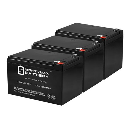 12V 12Ah F2 Bike Battery Replaces Discover D12120 MK ES12-12 - 3 Pack
