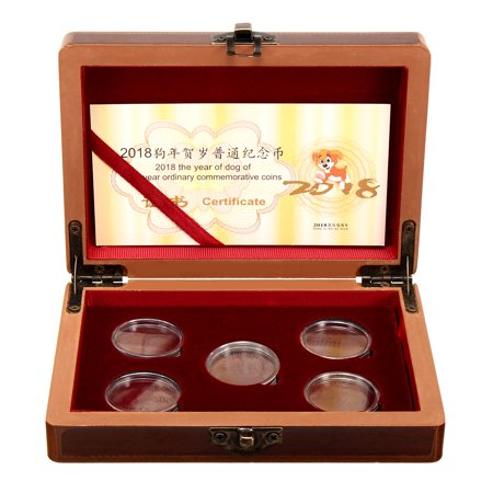 Moaere Coin Wood Case Display Box Wooden Storage Holder Collection with 5 Pcs Round (Round Wooden Box)