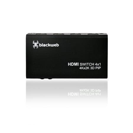 Blackweb 4K 4-Port Hdmi Switch With Pip And Ir Wireless Remote