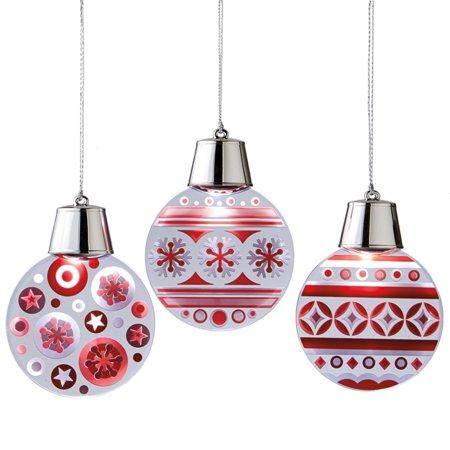 """4.75"""" fonctionne à pile LED Lighted rouge et blanc clignotant flocon de neige et pois Boule de Noël - image 1 de 1"""