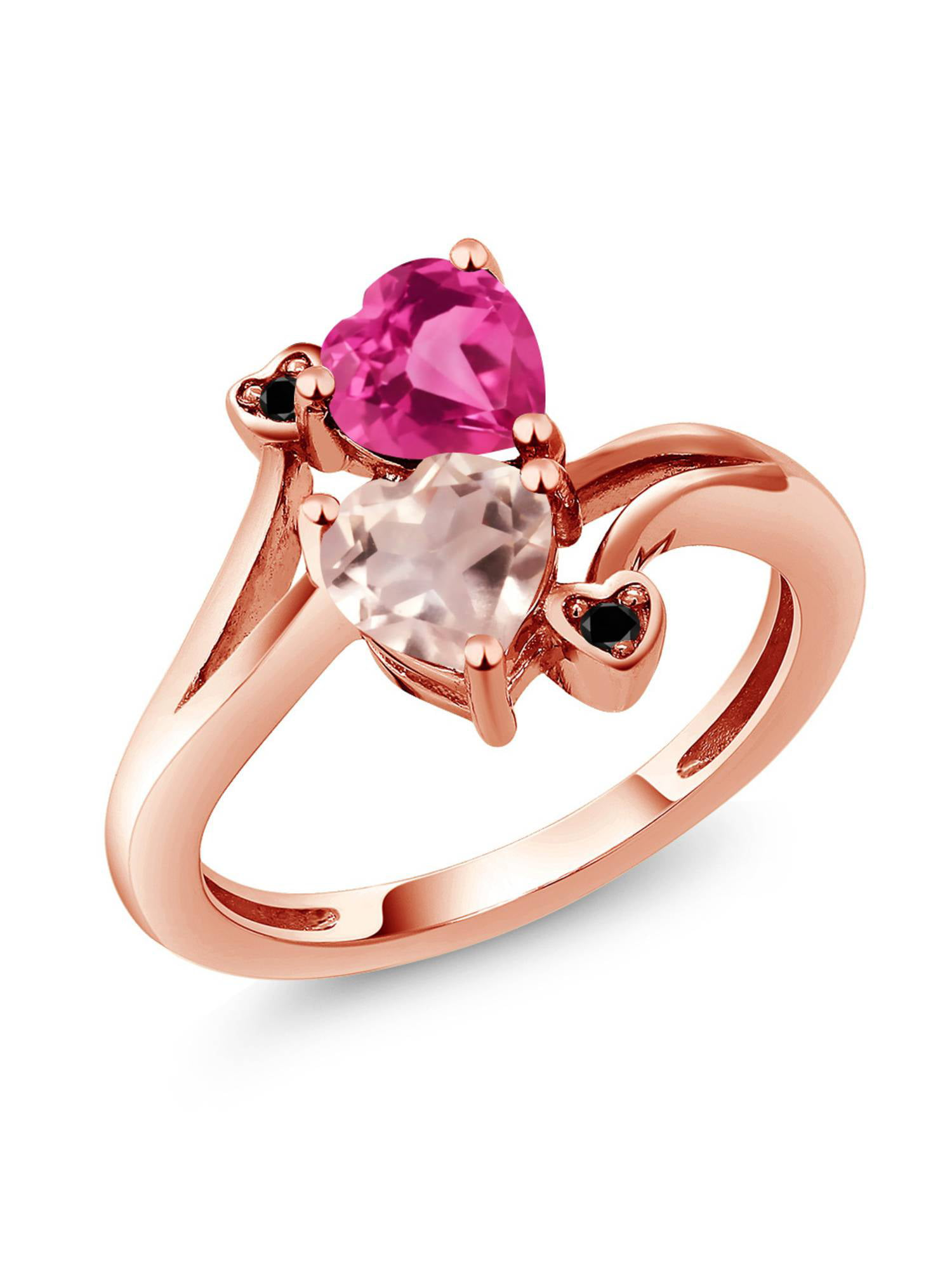 1.53 Ct Rose Rose Quartz Pink Created Sapphire 18K Rose Gold Plated Silver Ring by