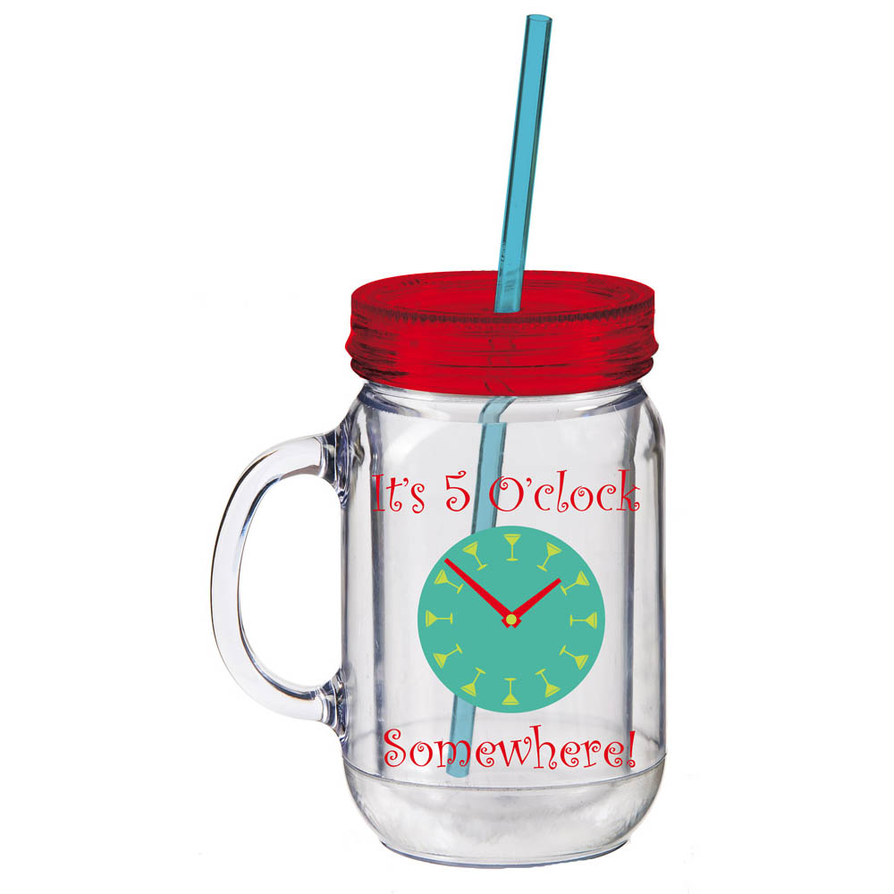 5 O'Clock Somewhere Double Walled Mason Jar Insulated Cup