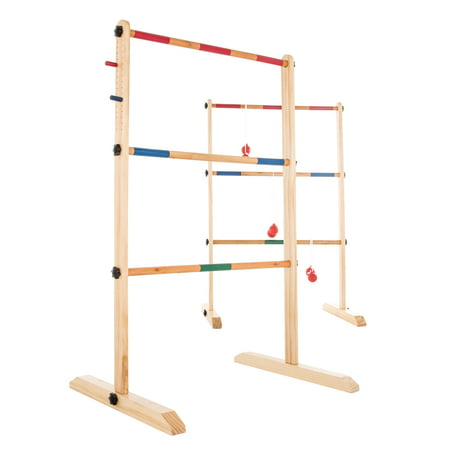 Ladder Toss Game-Wooden Outdoor Set with 6 Bolas and Storage Bag-Great Backyard Activity for BBQ or Tailgate-Fun for Kids and Adults by Hey! - Ladders Game