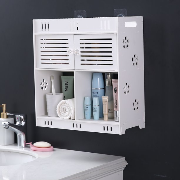 Kepooman Non Perforated Bathroom Wash Cabinet Home Kitchen Wall Cabinet With 3 Layers And 2 Doors Walmart Com Walmart Com