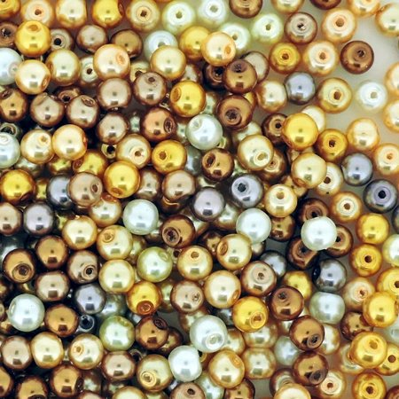 - UnCommon Artistry Glass Pearl Mix 200pcs 4mm - Honey Butter Mix