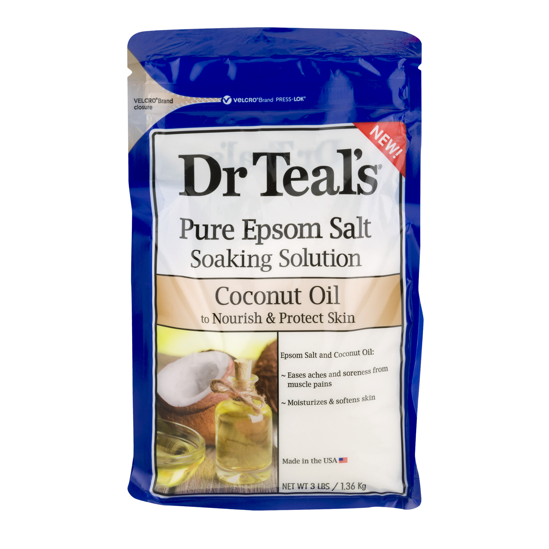 Dr Teal's Pure Epsom Salt Soaking Solution with Coconut Oil, 3 lbs