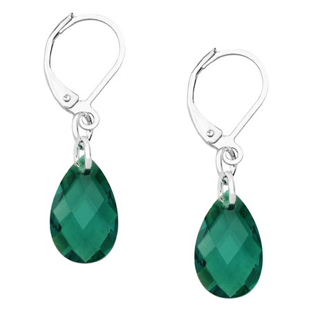 - Falari Glass Crystal Tear Drop Shaped Earring Emerald
