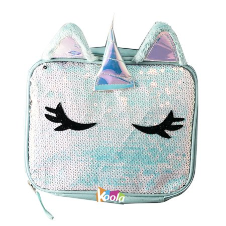 Magic Unicorn Sequin Insulated Lunch Box Tote Reversible Fashion Cool Bag