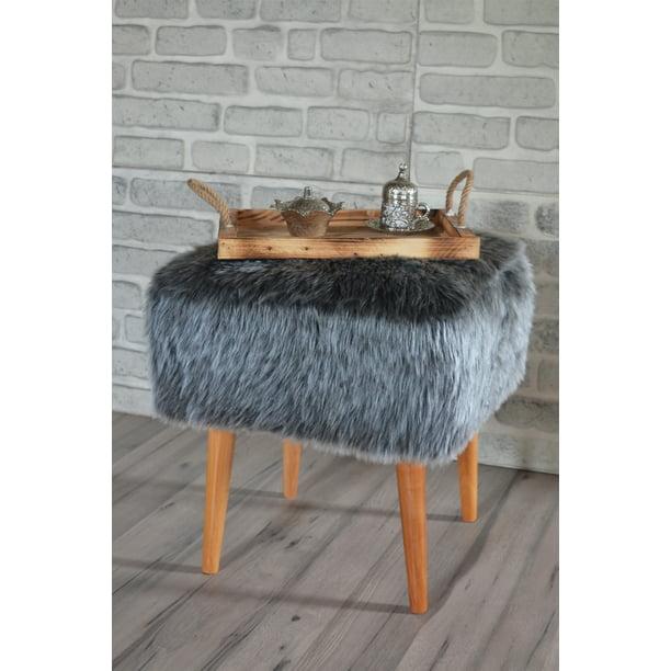 Pyramid Home Decor Square Faux Fur Stool For Vanity Furry Ottoman Seat With Wood Legs 16 5 X 16 5 X 17 75 Inch Grey Faux Fur Foot Stool Ottoman Walmart Com Walmart Com