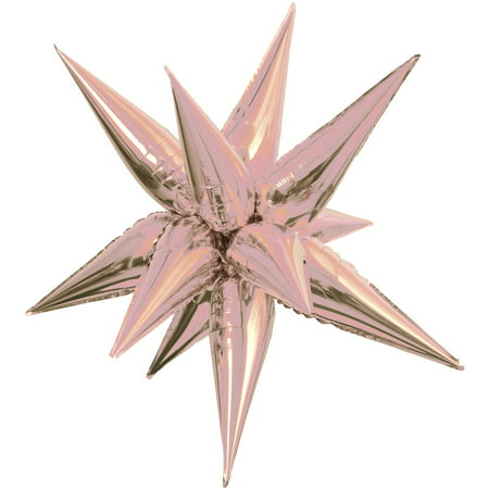 Smiley Face Foil Balloon - Jumbo Foil 12 Point Star Balloon, 40 in, Rose Gold, 1ct