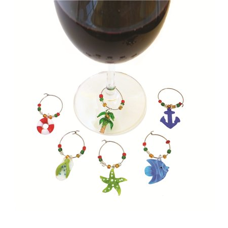 Set of 6 Green and Blue Beach Themed Design Wine Glass Marker Sets Green Wine Design