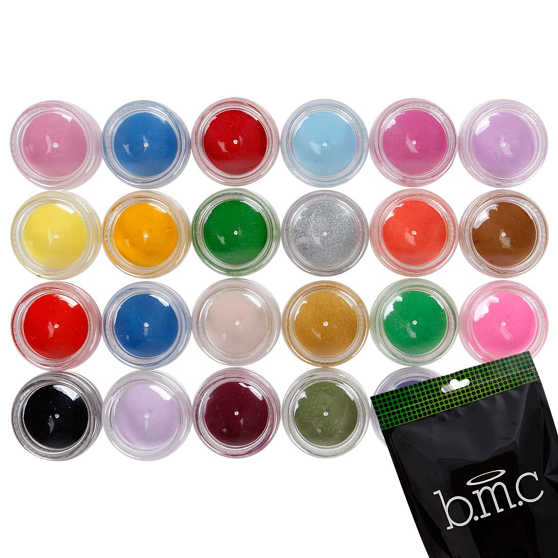 BMC 3D Sculpting Extensions Manicure Nail Art Acrylic Powders Pots - 24 Color Kit