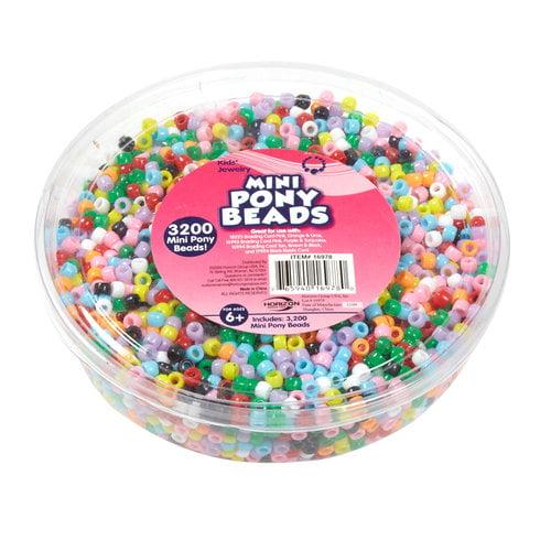 Kids Craft Small Plastic Pony Beads, Multi-Color