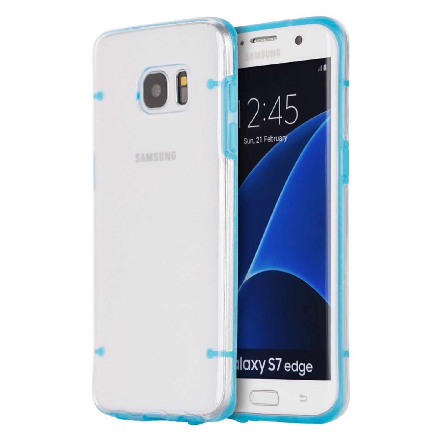 Insten Hard Plastic/Soft TPU Rubber Case Cover For Samsung Galaxy S7 Edge, Clear/Blue