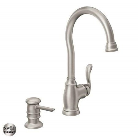 moen 87682srs high-arc kitchen faucet with soap dispenser from the anabelle  collection, spot resist stainless