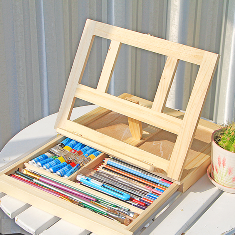 Zimtown Folding Wooden Table Desk Top Drawing Easel Floor Holder With  Artist Sketch Box Drawer Storage