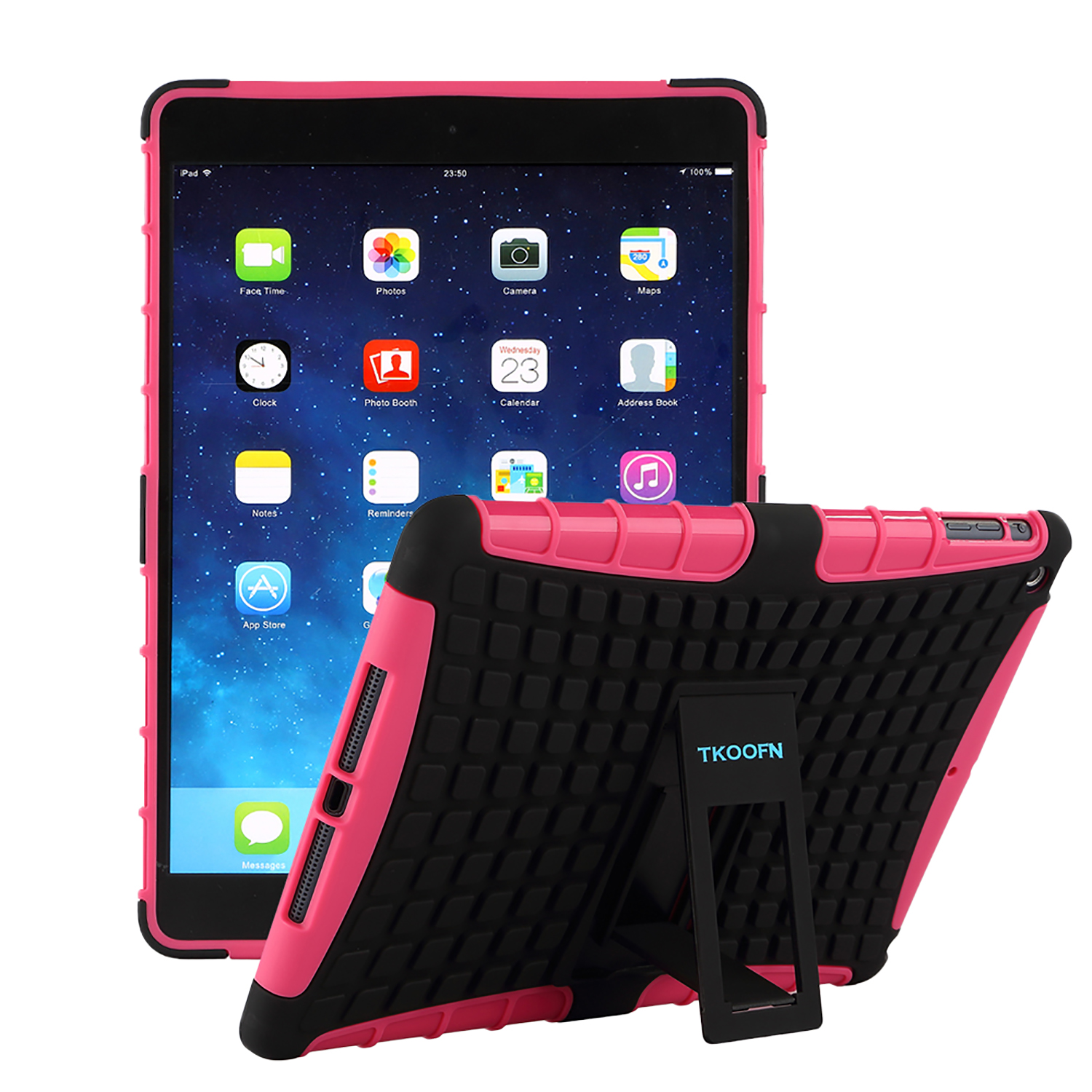 TKOOFN Heavy Duty Kids Shockproof Rubber Lot Armour Stand Case Cover for Apple iPad Air 22014(A1566/ A1567)