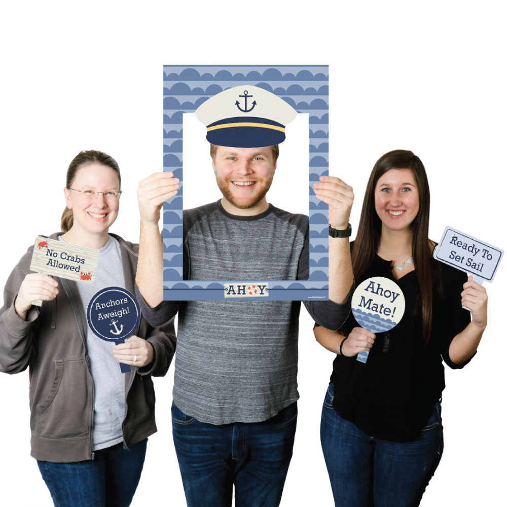Ahoy - Nautical - Birthday Party or Baby Shower Selfie Photo Booth Picture Frame & Props - Printed on Sturdy Material