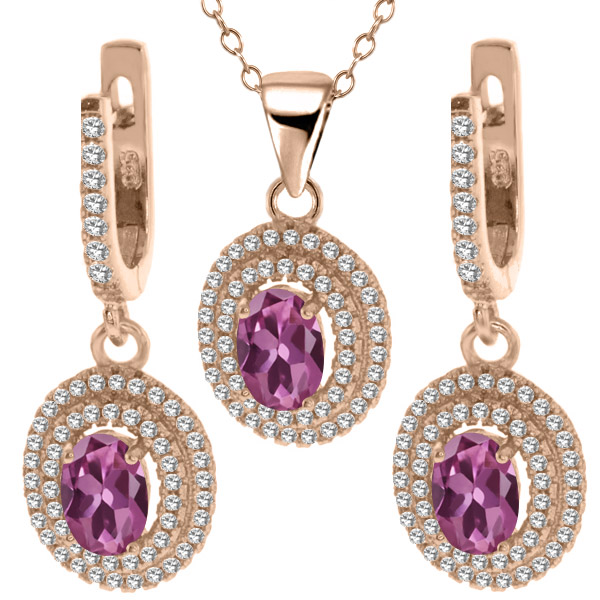 4.18 Ct Pink Tourmaline 925 Rose Gold Plated Silver Pendant Earrings Set by