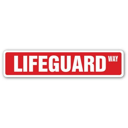 Indoor Pool - LIFEGUARD Aluminum Street Sign swimming pool lake ocean life | Indoor/Outdoor | 18