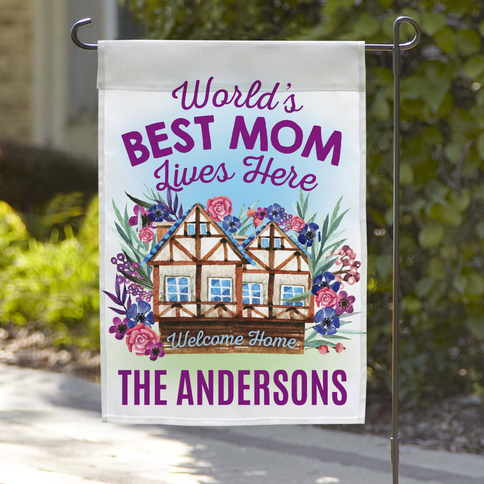 "World's Best Mom Custom Garden Flag, 18"" x 12"""