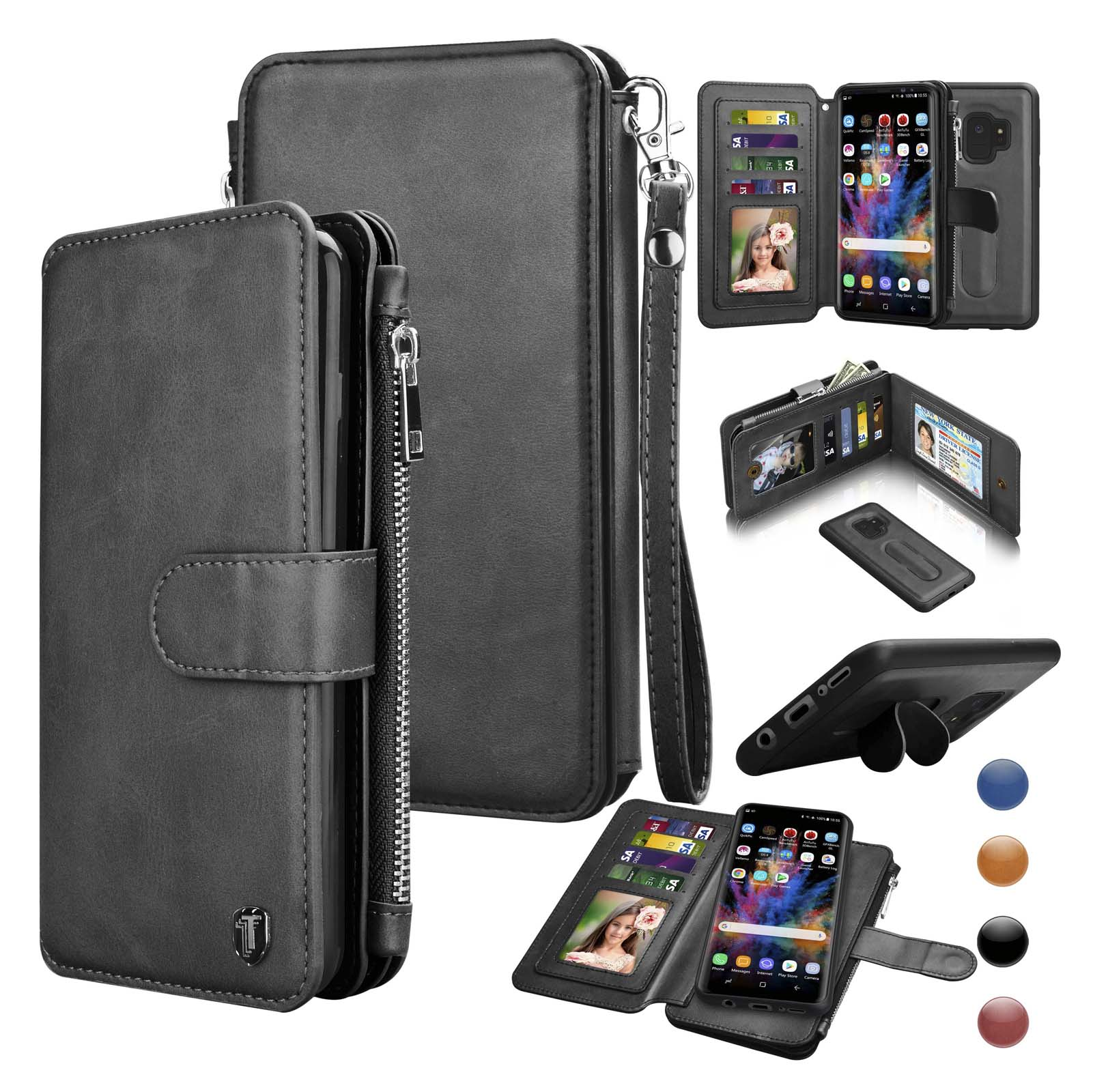 Njjex Wallet Phone Cases for Samsung Galaxy S9 / S9 Plus / S10 / S10 Plus / S10E / S9+ / S10+. Leather Detachable Magnetic Case Zipper Pocket 8 Card Slots Purse KickStand Cover Wrist Strap Gift Box