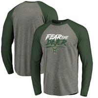 Milwaukee Bucks Fanatics Branded Fear the Deer Hometown Collection Raglan Tri-Blend Long Sleeve T-Shirt - Heathered Gray
