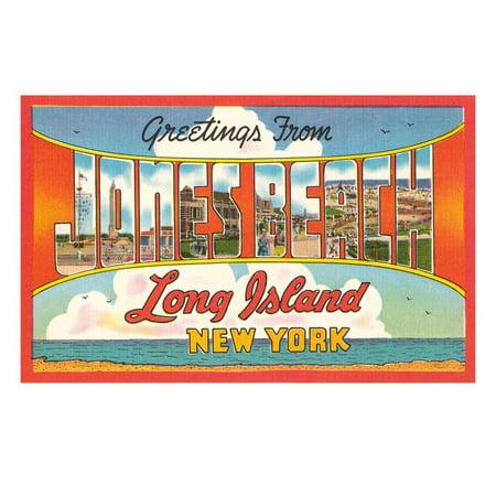 Greetings from Jones Beach, Long Island, New York Print Wall Art