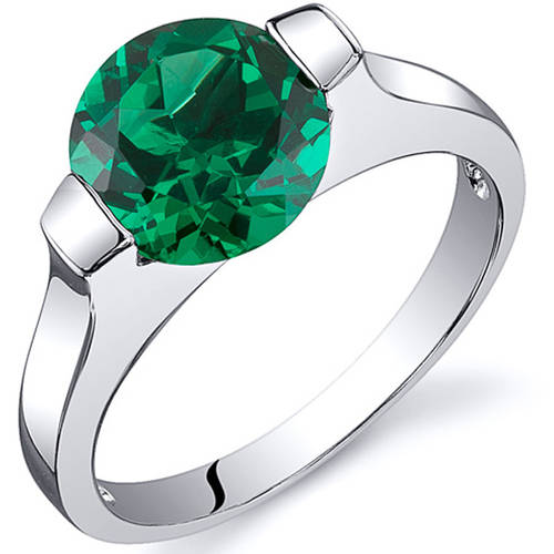 Oravo 1.75 Carat Created Emerald Rhodium-Plated Sterling Silver Engagement Ring