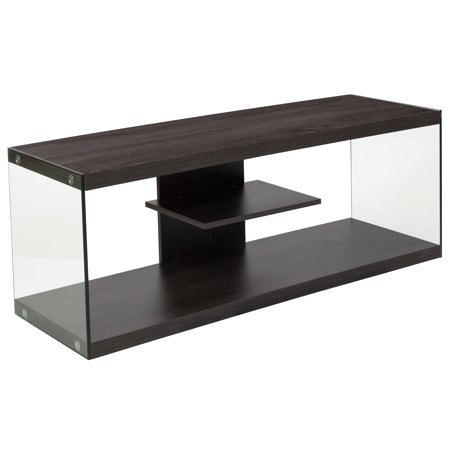 - Flash Furniture Cedar Lane Collection Driftwood Wood Grain Finish TV Stand with Shelves and Glass Frame
