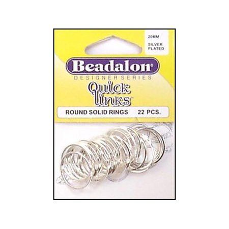 Beadalon QuickLinks Rnd 20mm Silver Plt 22pc