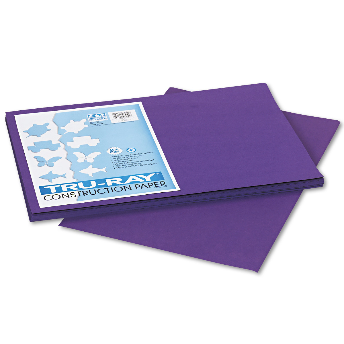 Pacon Tru-Ray Construction Paper, 76 lbs., 12 x 18, Purple, 50 Sheets/Pack -PAC103051