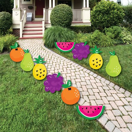 Tutti Fruity - Fruit Lawn Decorations - Outdoor Frutti Summer Baby Shower or Birthday Party Yard Decorations - 10 Piece