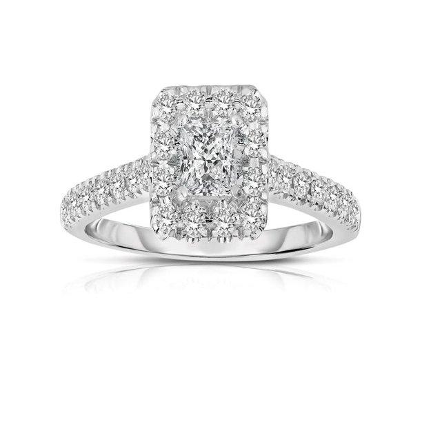 Jeenjewels Half Carat Princess Cut Halo Diamond Engagement Ring In White Gold Walmart Com Walmart Com