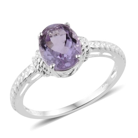 Solitaire Ring Silver Oval Pink Amethyst Gift Jewelry for Women Cttw 2 (11,10,5,6,7,8,9)