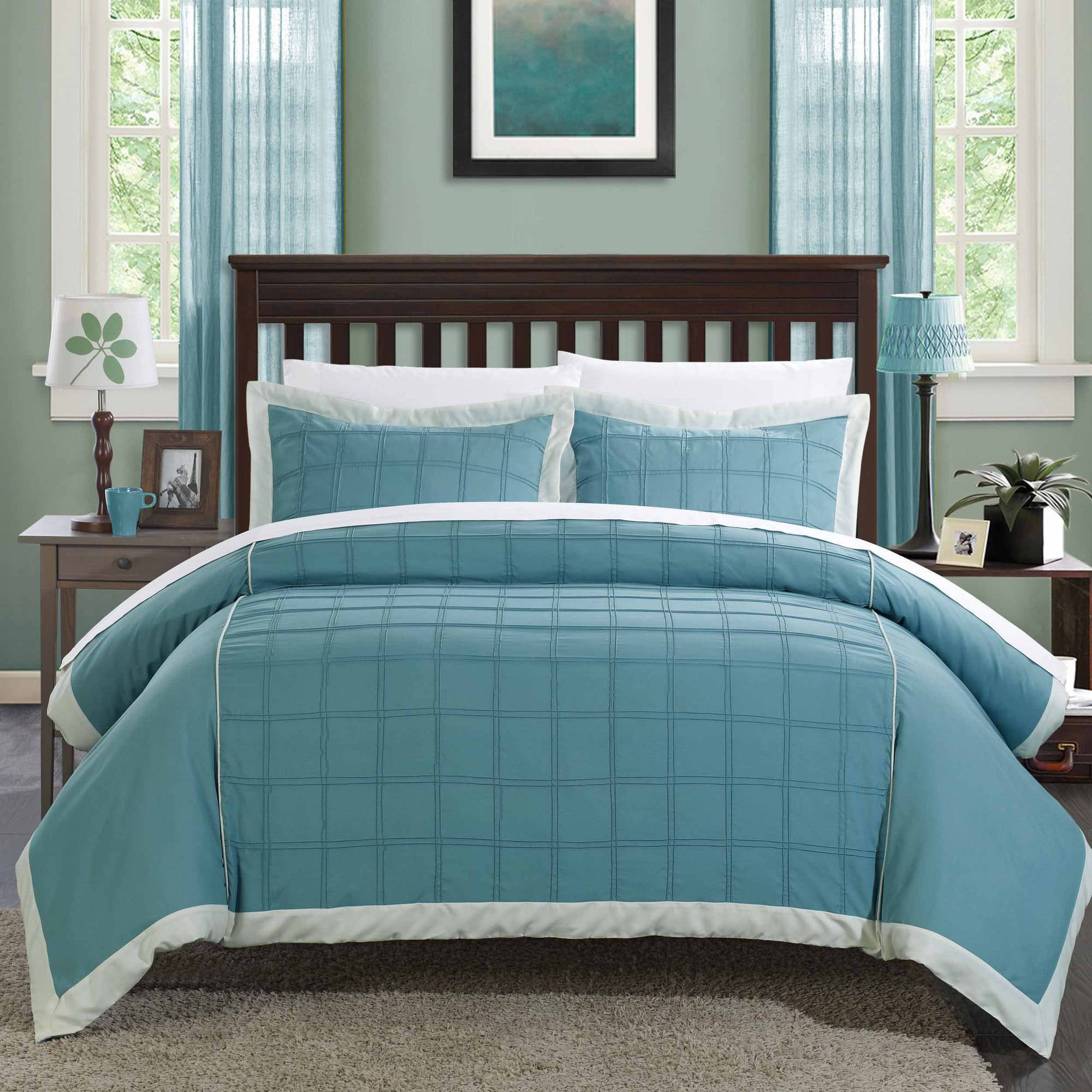 Chic Home 3-Piece Angevin Pintuck Color Block Duvet Set